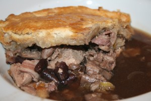 pheasant and pig's trotter pie with a suet crust