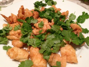 Deep fried squid with garlic and white pepper